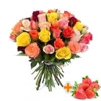 33 розы + клубника