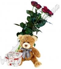 5 роз, мишка и Raffaello
