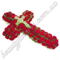 Крест из красных роз