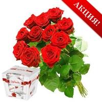 11 красных роз и Raffaello