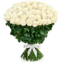 101 белая роза 70-80 см