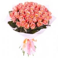 51 персиковая роза 70 см